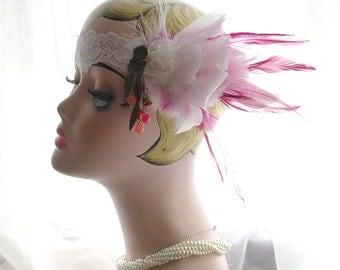 SUMMER CLEARANCE SALE  --White Pink Antique Tribal Fringe Lace,Great Gatsby Headband,1920s Flapper Headband,Headpiece,Midnight Paris