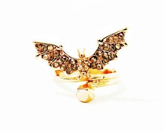 Size 5.5, 7, 9 Bat Ring, Bat Gold Ring, Rose Gold Ring, Bat Diamond Ring, Men Ring, Women Ring, Batman Ring, Bat Jewelry, Unique Ring