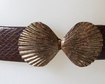 Bronze Seashell Clasp Buckle with 3 Belts