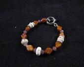 Artisan Lampwork and Czech glass hand beaded bracelet, hand beaded bracelet, orange bracelet, hand beaded orange bracelet, artisan beads