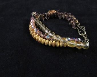 Hand beaded bracelet, sari silk bracelet, sari silk jewelry, Yellow hand beaded bracelet, Sari silk and Czech glass hand beaded bracelet