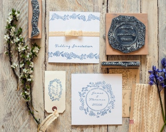 Wedding Rubber Stamp Wild Flower Garland Personalised