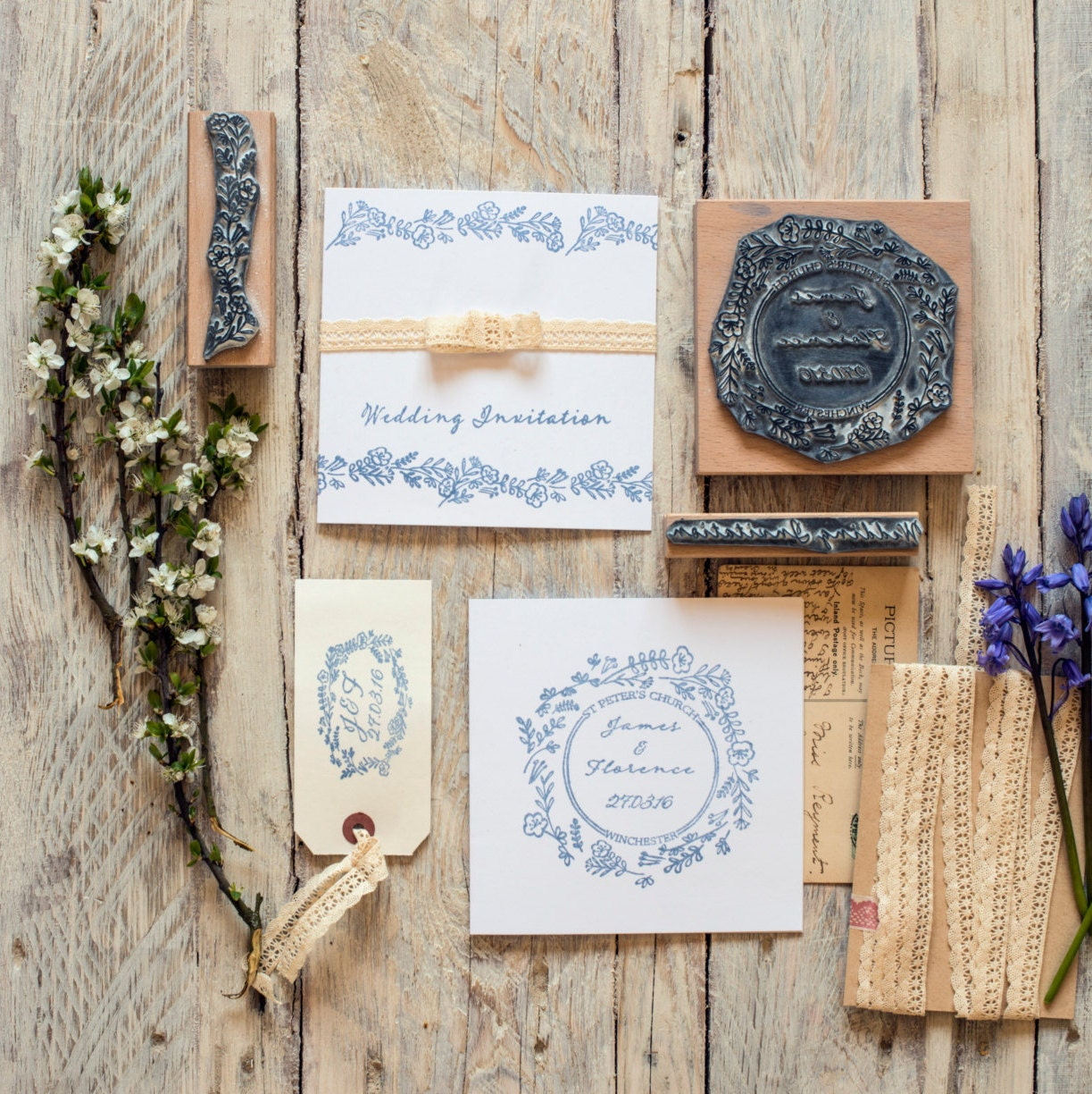 Wedding rubber stamp wild flower garland personalised for Wedding dress rubber stamp