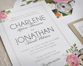 Wedding Invitation - Floral - Painted - Flowers - Elegant