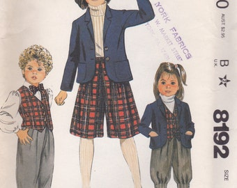 Girls' Jacket, Vest, Knickers, Culottes & Pants Pattern McCalls 8192 Size 8 Uncut