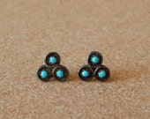 Vintage sterling silver and turquoise petit point earrings, three dot snake eye, post earrings, studs