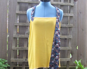 Funky Yellow Halter Top/ Eco Halter Tie Top Summer Festival Tops Gear Beach Cover Up Upcycled Vintage L/XL