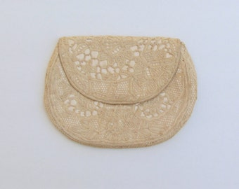 Vintage lace covered clutch, c.1930's small ivory satin clutch with bobbin lace, wedding purse