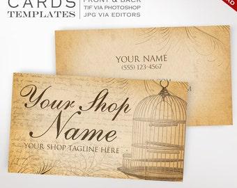 Vintage Business Cards - Customizable Vintage Birdcage Design - Antique Business Card vtm Bird DIY Photoshop or Free Editor Vintage Template