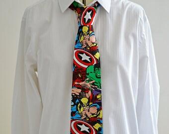 Marvel Tie- Comicbook, superhero, avengers, thor, captain america, wolverine necktie
