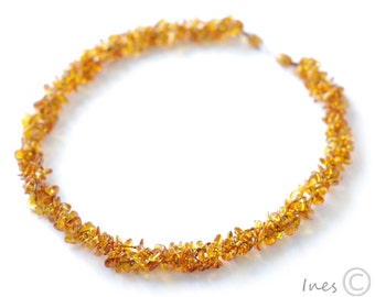 Twisted Honey Color Baltic Amber Necklace