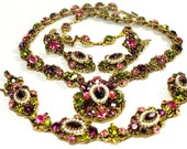 Weiss Rhinestone Jeweled Necklace Bracelet Earring Parure