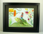 "Colorful original pen and ink drawing, Gnome and frog with flowers. Fantasy art. 11""x14"" Framed art"