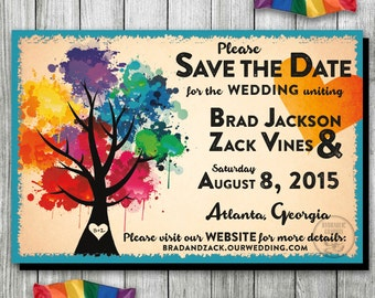 Rainbow Wedding Save the Date, Gay Wedding Save the Date, LGBT Save the Date, Love Wins Invite, Same Sex Wedding, Paint Party, Paint Night