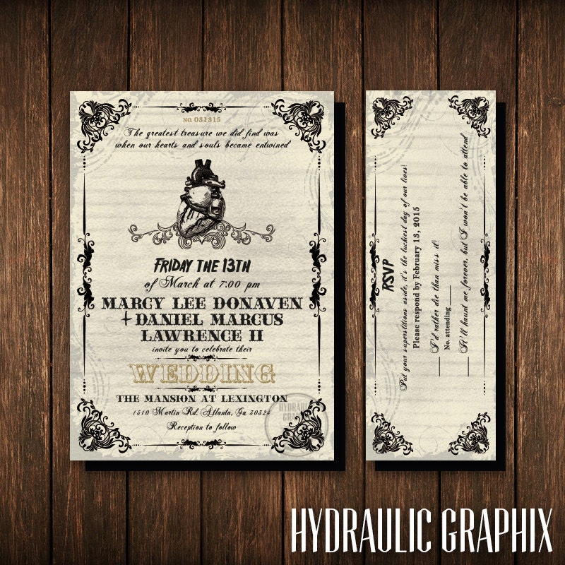 Friday the 13th wedding invitation and rsvp ticket gothic for Free printable gothic wedding invitations