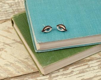 Wooden Eye Earrings