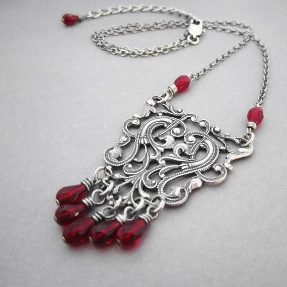 Medieval Necklace Viking Knot Dark Oxblood Red Bead Fringe Highly Detailed Ornate Silver Plated Filigree Celtic Scroll Work Gothic Pendant
