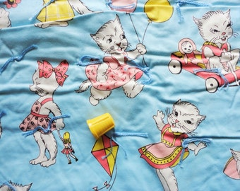 playful kittens juvenile print vintage cotton fabric tied quilt