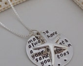 Hand Stamped Pendant Necklace- May you always have a shell in your pocket and sand between your toes