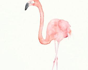 Original Watercolor Painting Flamingo