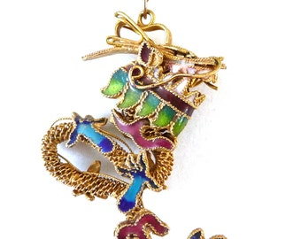 Antique Chinese Export Enamel Dragon Pendant Necklace Gold Gilt Silver from TreasuresOfGrace