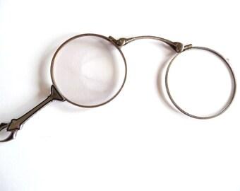 Vintage Lorgnette Sterling Silver Folding Eye Glasses Enamel Opera Glasses Spectacles from TreasuresOfGrace