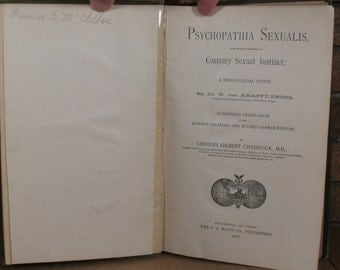 Psychopathia Sexualis with Special Reference to Contrary Sexual Instinct by Dr. R von Krafft-Ebing - HC 1893 1st Translated edition
