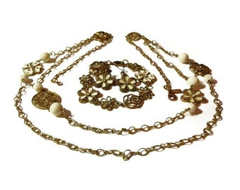 1928 necklace, bracelet and earrings, gold chain, enamel flowers, flowers with rhinestones, floral discs and floral and plain cream beads