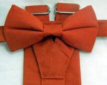 On Sale: Burnt Orange Suspenders and Burnt Orange Bow tie set. Bridal Color Burnt Orange. Free Shipping Offer. Custom Fit Available.