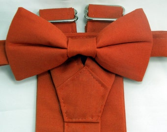 Burnt Orange Suspenders and Burnt Orange Bow tie set. Bridal Color Burnt Orange.