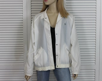 Vintage Rare Cheryl Tiegs White Windbreaker 1980s Size Large Nylon