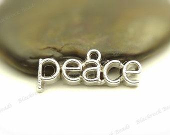 Bulk 18 Peace Message Charms 3D Antique Silver Tone Metal - 26x10mm - BF27