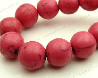 10mm Rose Pink Magnesite Matrix Round Gemstone Beads - 16 Inch Strand - BE10