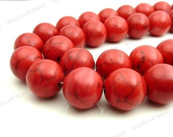 20mm Red Magnesite Round Gemstone Beads - 15.5 Inch Strand - Opaque, Black Veining - BG32