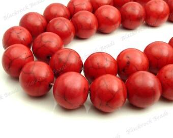 10mm Red Magnesite Gemstone Beads - 16 Inch Strand - Round, Opaque, Black Veining - BB17