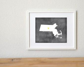 Massachusetts Chalkboard State Map Customizable Art Print
