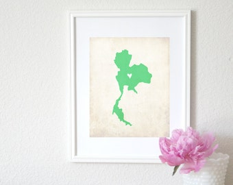 Thailand Personalized Country Map Art 8x10 Print