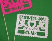 10 Banderitas Hand-Cut Papel Picado Flags - Personalized