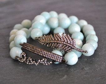 LEAF/BAR/HEARTS /love/ beaded stretch  bracelet.