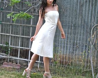 Ivory Dress, Silk Dress, Strapless Dress, Wedding Dress