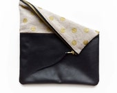 Gold Polka Dot Canvas Clutch Genuine Leather Purse Fold Over Pouch Zippered Bag Beige Handbag Handmade Ipad Case Women's Accessories