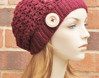 Womens Slouchy Hat Crochet Hat Slouchy Beanie Hat Womens Winter Hat Baggy Beanie Hat Fall Accessories  // THE SAGE // Wine Red
