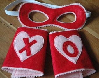 Hugs and Kisses Superhero MASK and CUFF Set - Wool or Eco Felt Valentine's Gift Set