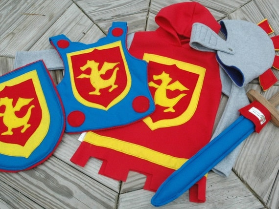 Dragon Knight Costume Gift Set with Fleece Tunic - Super Hero Costume - Halloween Costume - Kid Costume