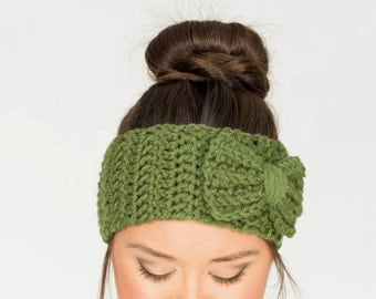Olive Chunky Crochet Bow Headband, Crocheted Ear Warmer, Handmade Women's Knit Winter Accessory, Cozy Knitwear, Knitted Headwrap