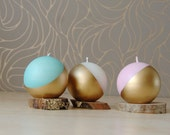 Handmade Candles Set Of Three, Pastel Color Balls Half Painted in Gold, Ball Candle, Metallic Decor, Pastel and Gold Candles, Modern Gift