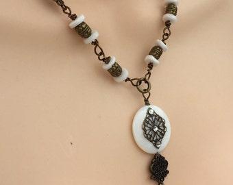 Vintage White Filigree Necklace