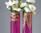 Henna Painted Vases, Painted Wedding Vase, Hot Pink Glass with Gold Henna Decor Detailing