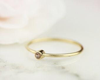 Pink Diamond Ring in 14k Gold or 18k Gold / Diamond Stacking Ring