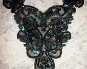 "Black Iridescent Beaded Applique Bridal Corset Prom Evening 9"" x 8"""